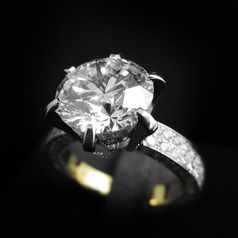 Diamond Ring in 22K Gold (H color) (แหวนเพชร 4.13cts)
