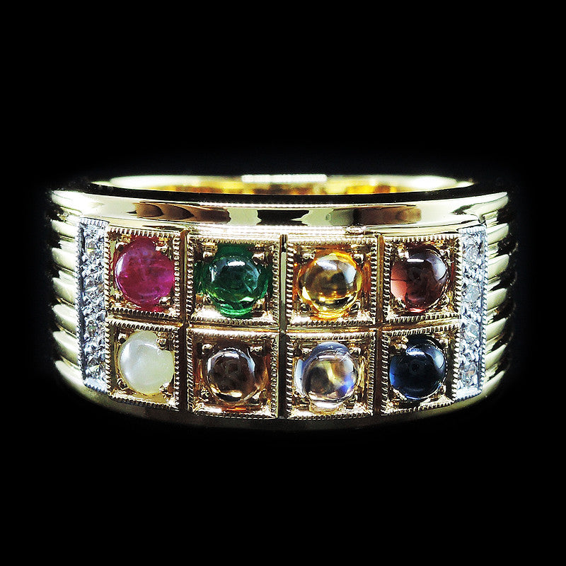 Gems with Diamonds Ring in 22K Gold (แหวนนพเก้า)