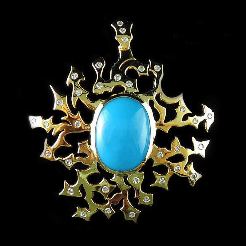 Turquoise Pendant in 22K Gold (จี้ Turquoise)