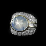 Blue Star with Diamonds Ring in 22K Gold (แหวน B-Star ประดับเพชร)