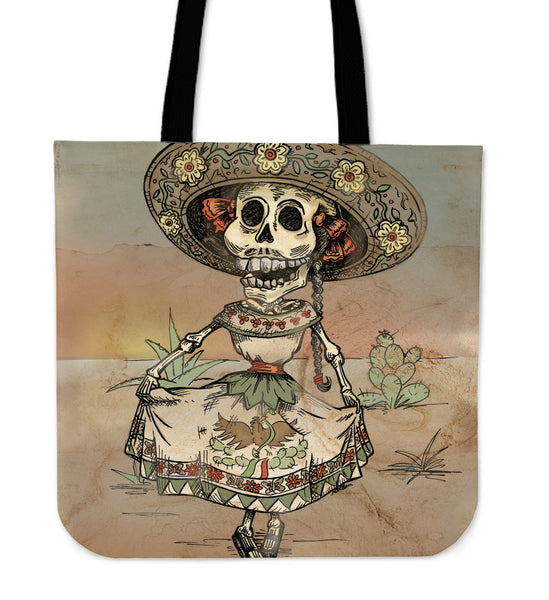 Day of the Dead Skeleton Linen Tote Bag