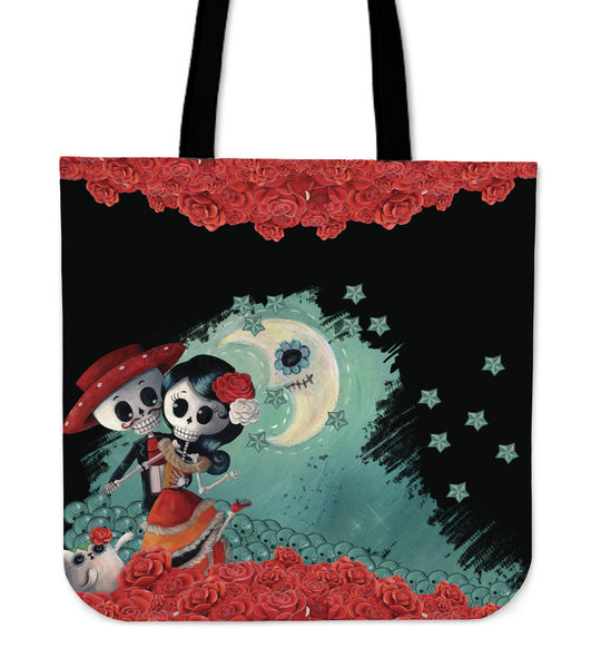 Skull Couple Black Tote Bag - MyGearGlobal