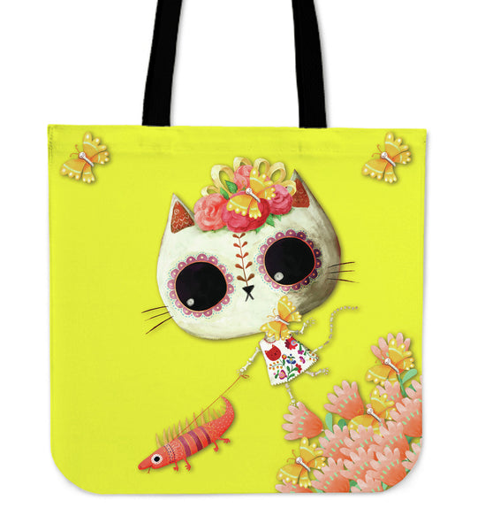 Desert Cat Yellow Tote Bag - MyGearGlobal