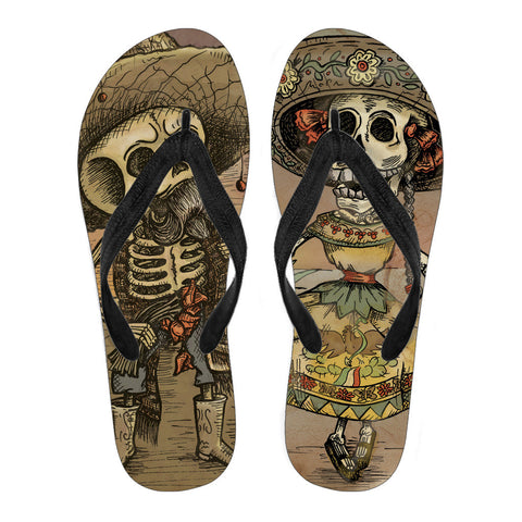 Day of the Dead Skeleton Women's Flip Flops