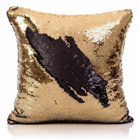 Sequin Mermaid Throw Pillow Cover Gold Black