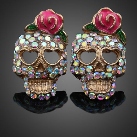 Sugar Skull Rhinestone Earrings - MyGearGlobal