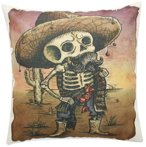 Dia de los Muertos Skeleton Throw Pillow Cover FREE Offer