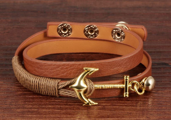 Leather Wrap Anchor Bracelet - MyGearGlobal