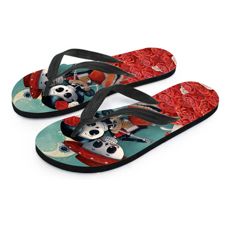 Day of the Dead Dancing Couple Women's Flip Flops - MyGearGlobal