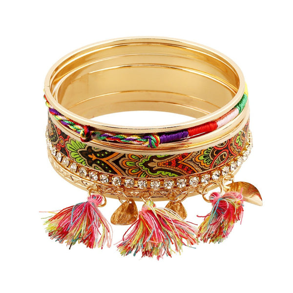 Gold Tassel Bangle Set - MyGearGlobal