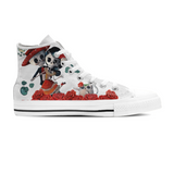 Day of the Dead Couple and Kitty Men's White High Top Shoe
