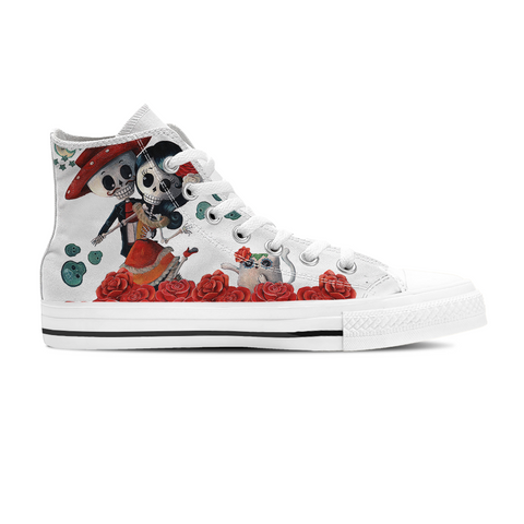 Day of the Dead Couple and Kitty Men's White High Top Shoe - MyGearGlobal