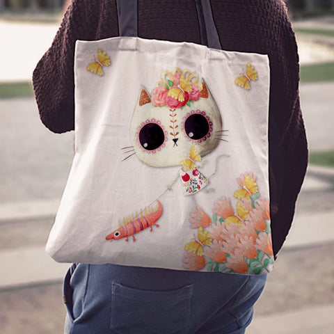 Desert Cat White Tote Bag - MyGearGlobal