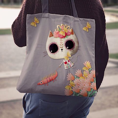 Desert Cat Gray Tote Bag - MyGearGlobal