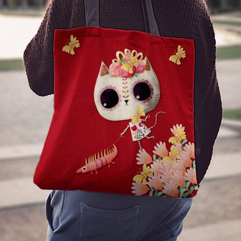 Desert Cat Crimson Tote Bag - MyGearGlobal