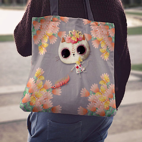 Day of the Dead Desert Cat Grey Flowers Linen Tote Bag - MyGearGlobal