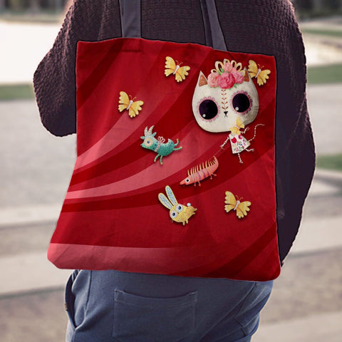 Desert Cat Red/Red Tote Bag - MyGearGlobal