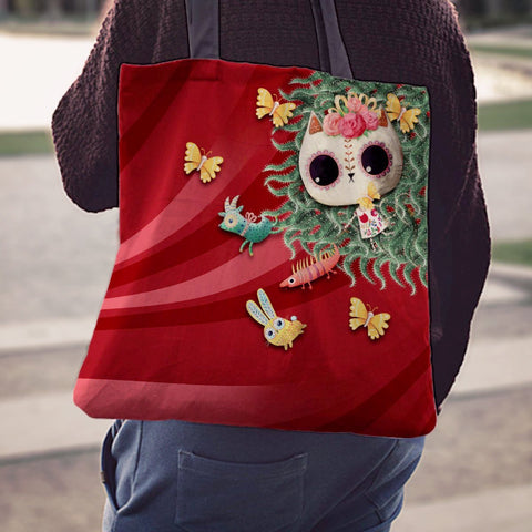 Desert Cat Red Cactus Tote Bag - MyGearGlobal