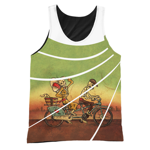 Day of the Dead Tandem Bike Graphic/Black Tank