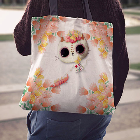 Day of the Dead Desert Cat White Tote Bag - MyGearGlobal