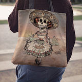 50% OFF Day of the Dead Skeleton Linen Tote Bag - MyGearGlobal