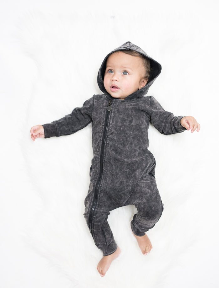 BLACK JOG DENIM ONESIE - Lucky No.7