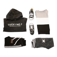 HOODIE BLACK MARBLE - Lucky No.7