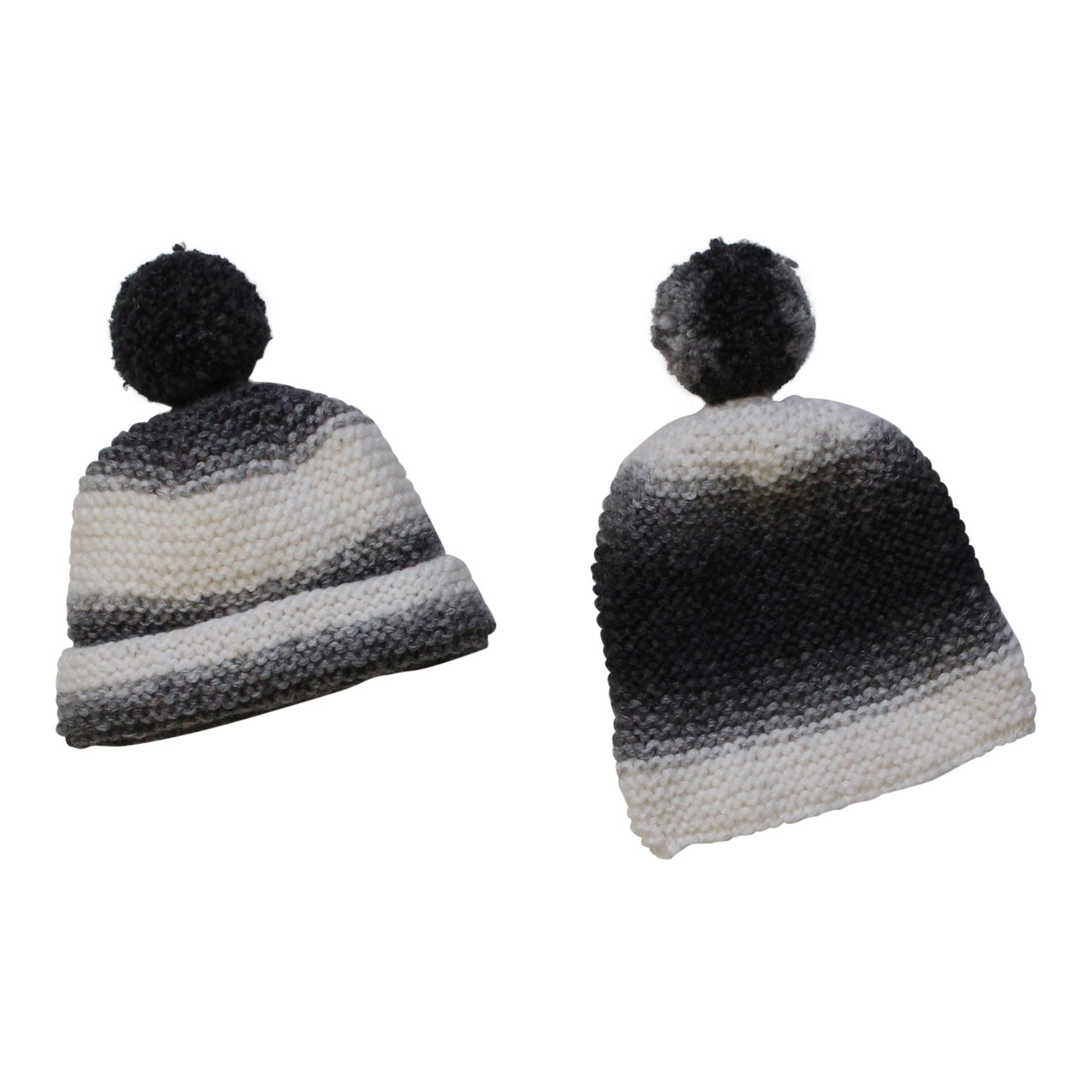 GREY DIP DYE KNITTED HAT