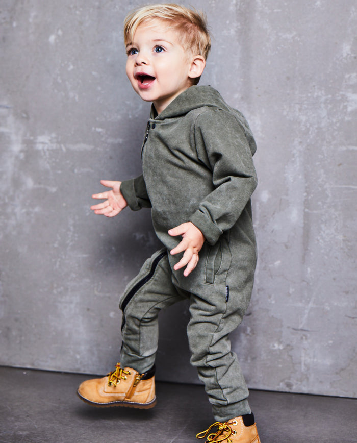 ARMY GREEN JOG DENIM ONESIE - Lucky No.7