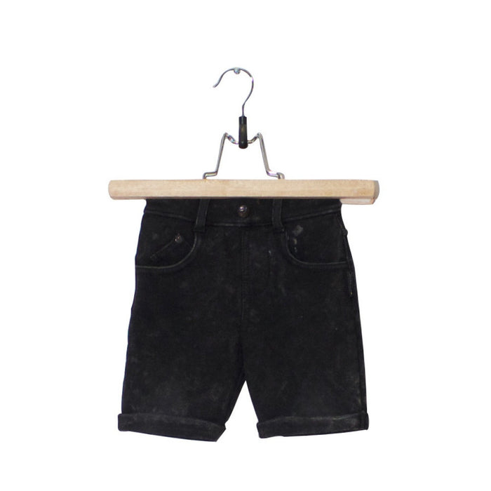 BLACK JOG DENIM SHORT