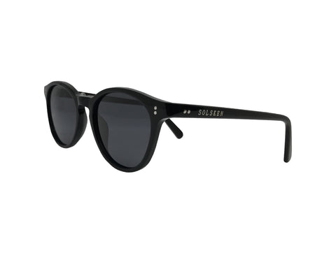 Freyja Jord Black Oval sunglasses Solsken Front Side