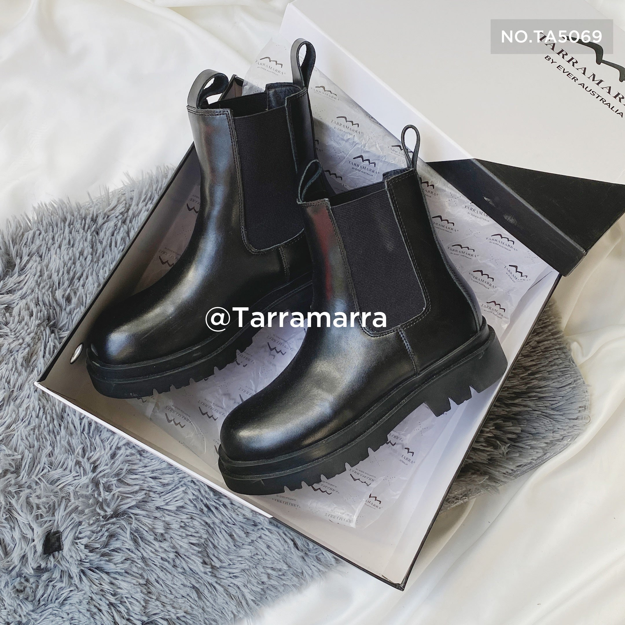 chunky black leather boots