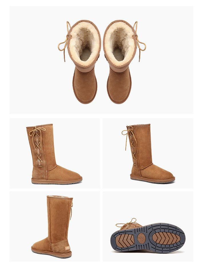 ab6b4279fdb UGG Boots Australia Premium Double Face Sheepskin Tall Side Lace Up,Water  Resistant #15983 Chestnut
