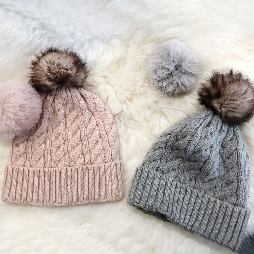 warm beanies in pink and grey