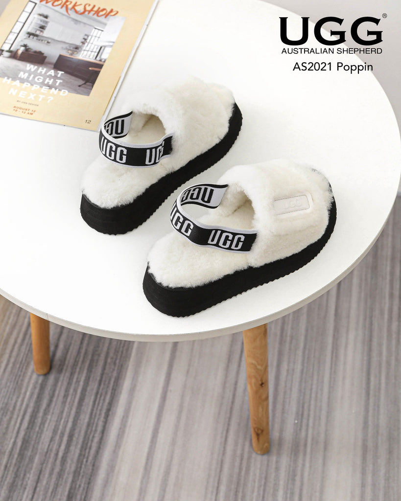 black and white fluffy sandals