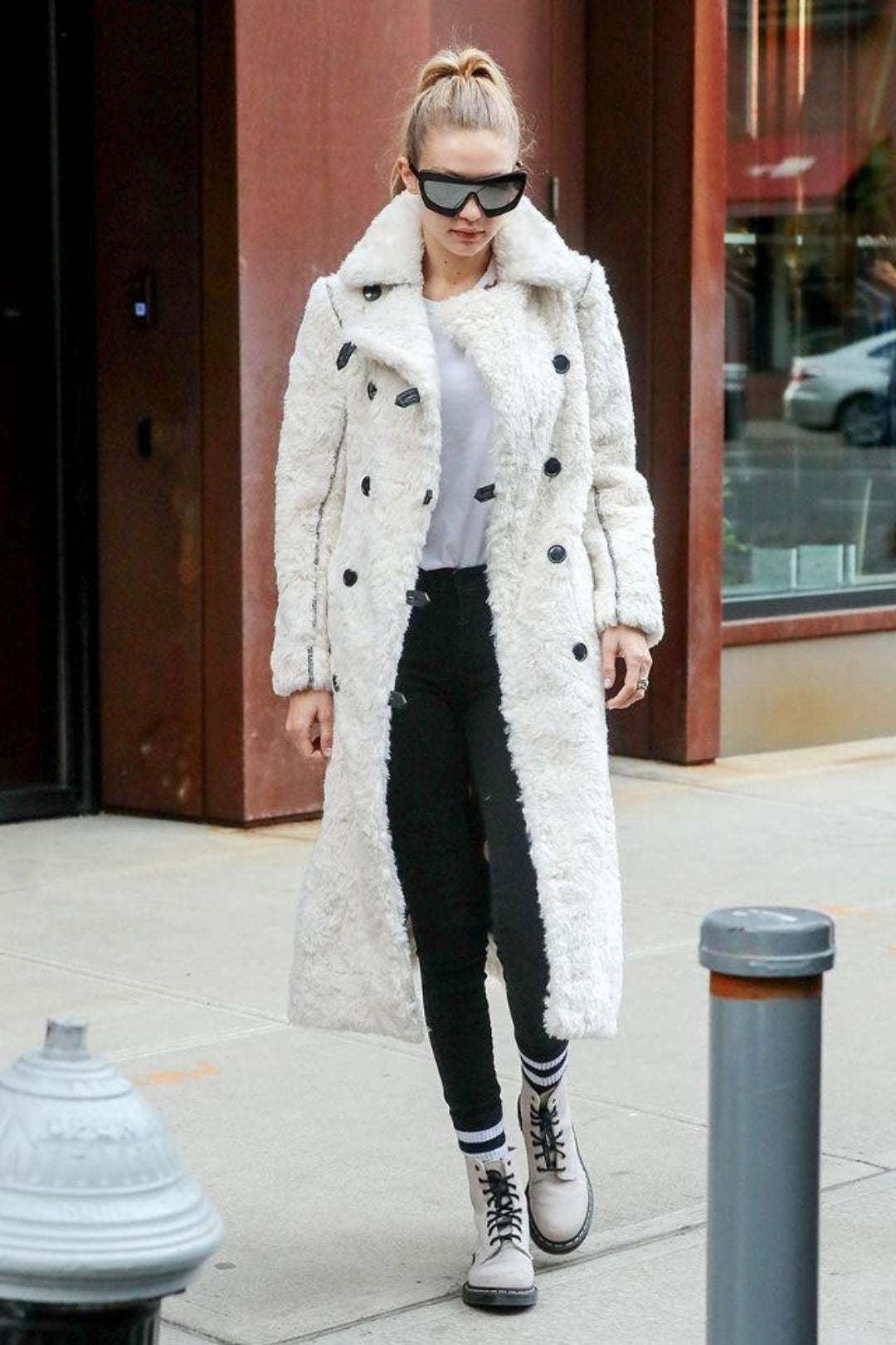 model gigi hadid in white combat boots