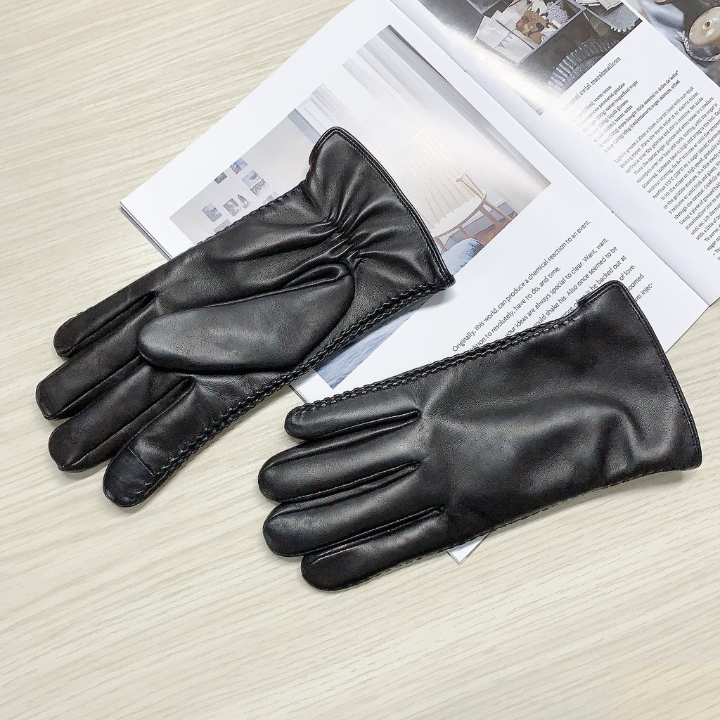 black leather gloves for men