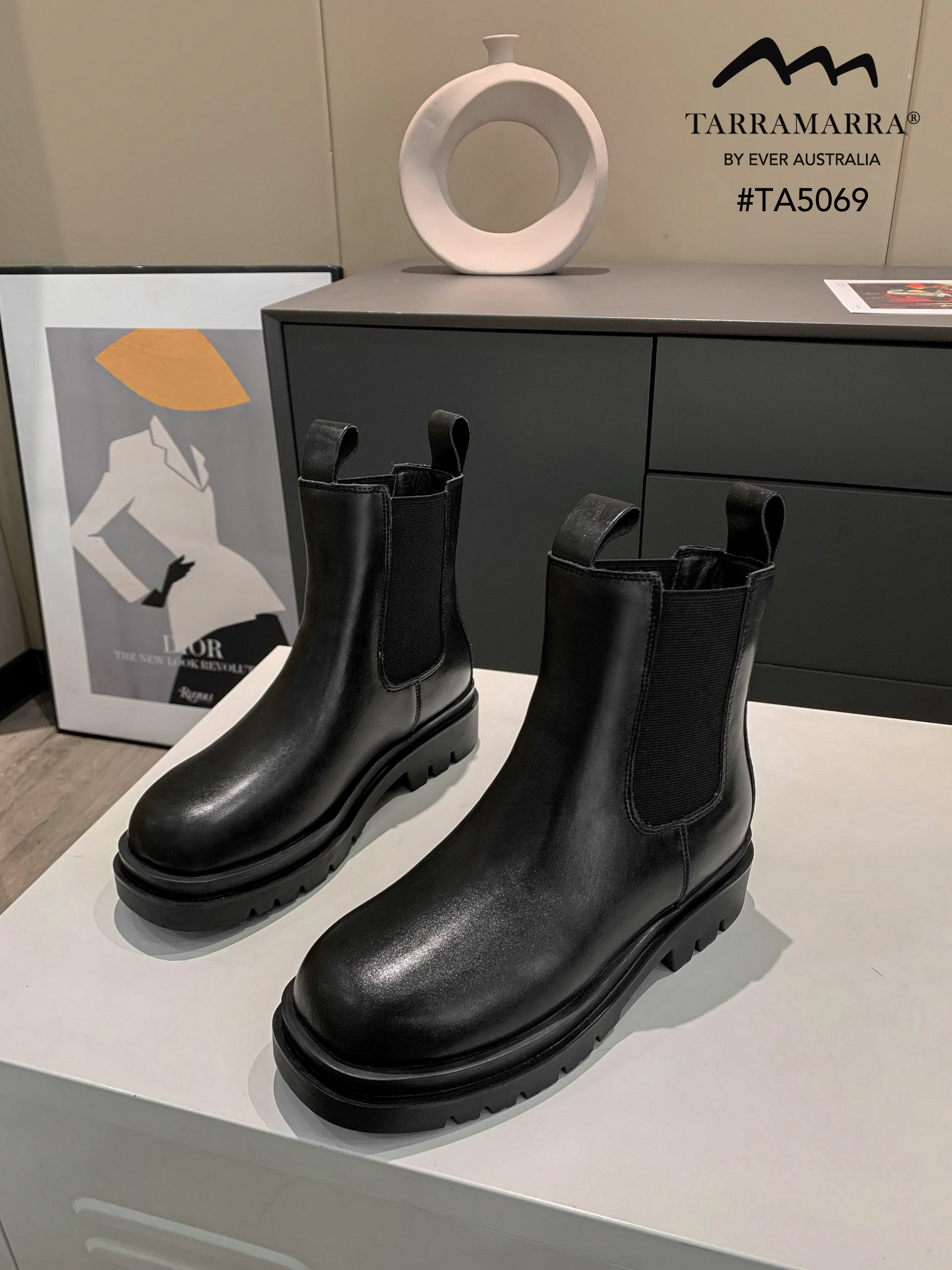 black chunky style boots