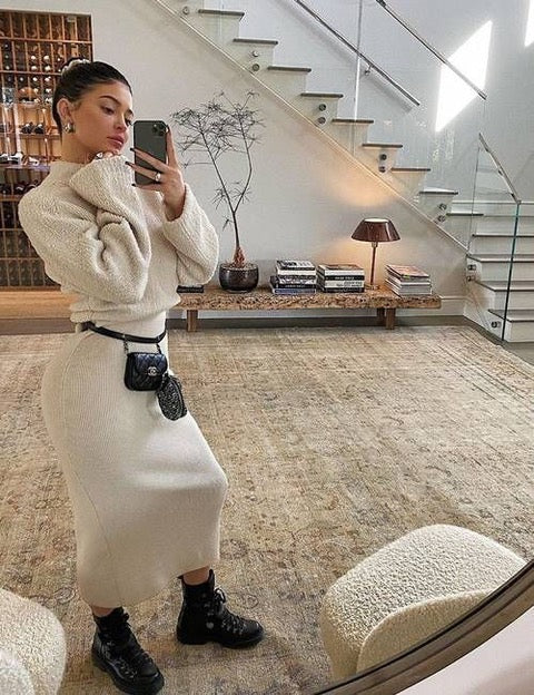 kylie jenner wearing logger boots