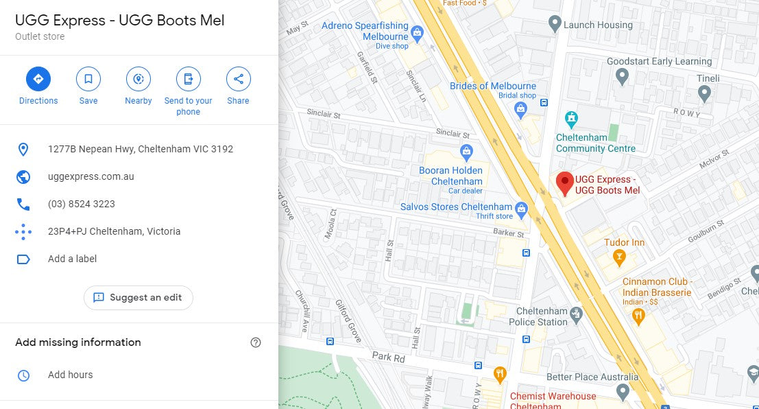 map to ugg express in melbourne