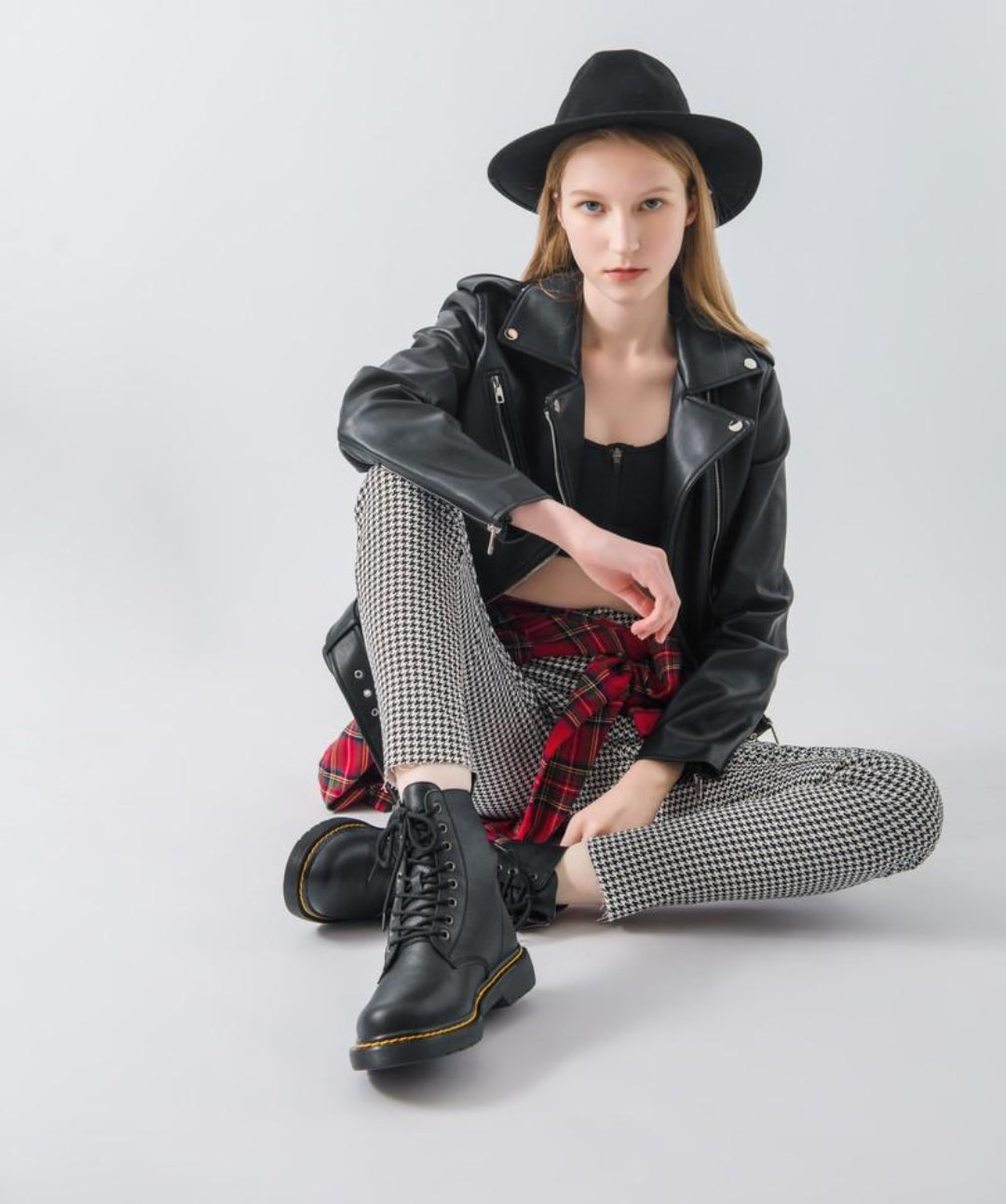 punk model wearing chunky boots