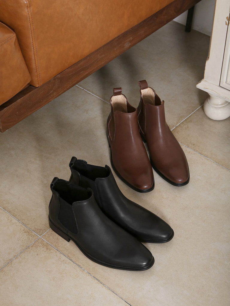 leather fashion boots for men