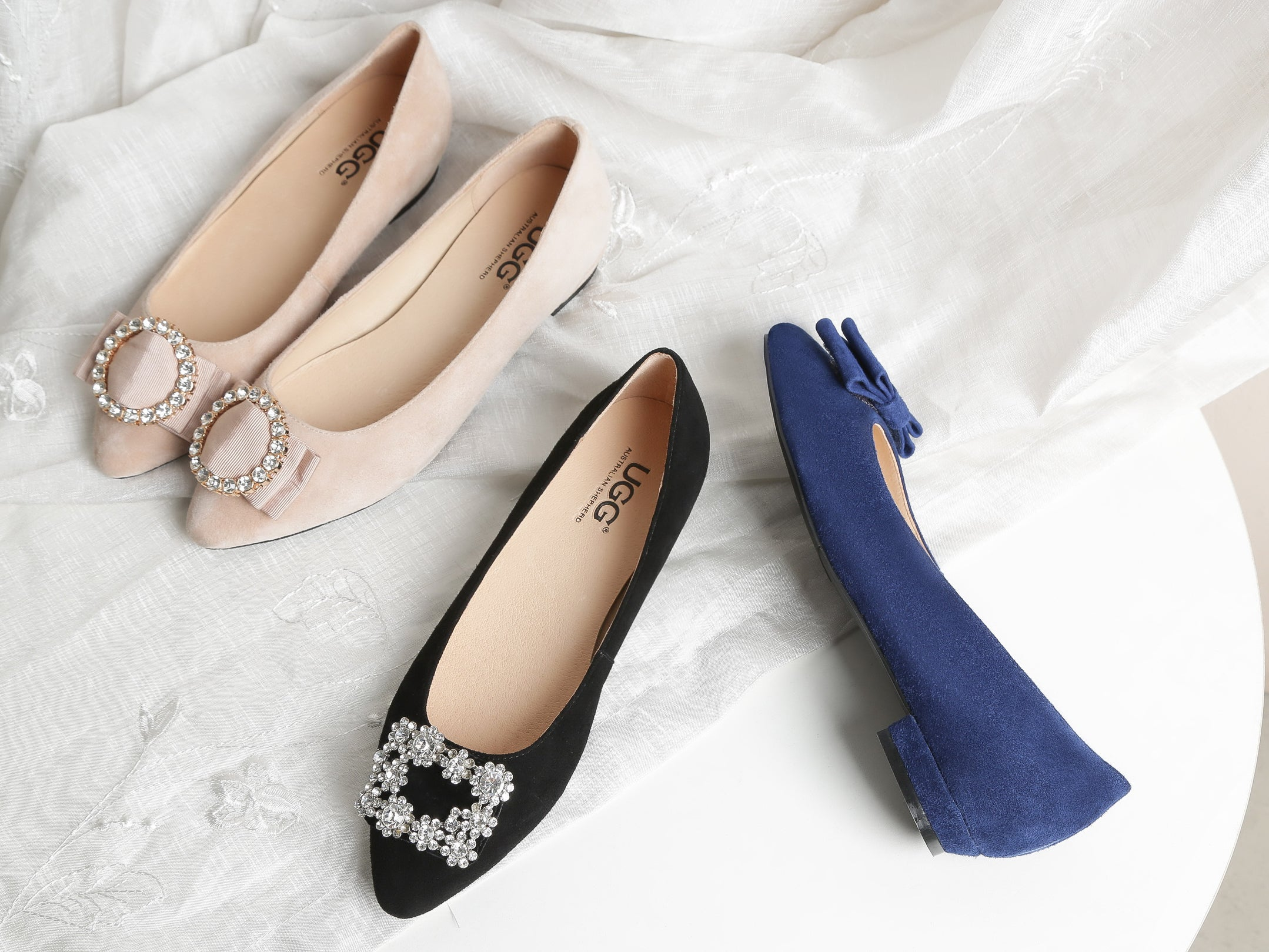 pink flats with diamantes