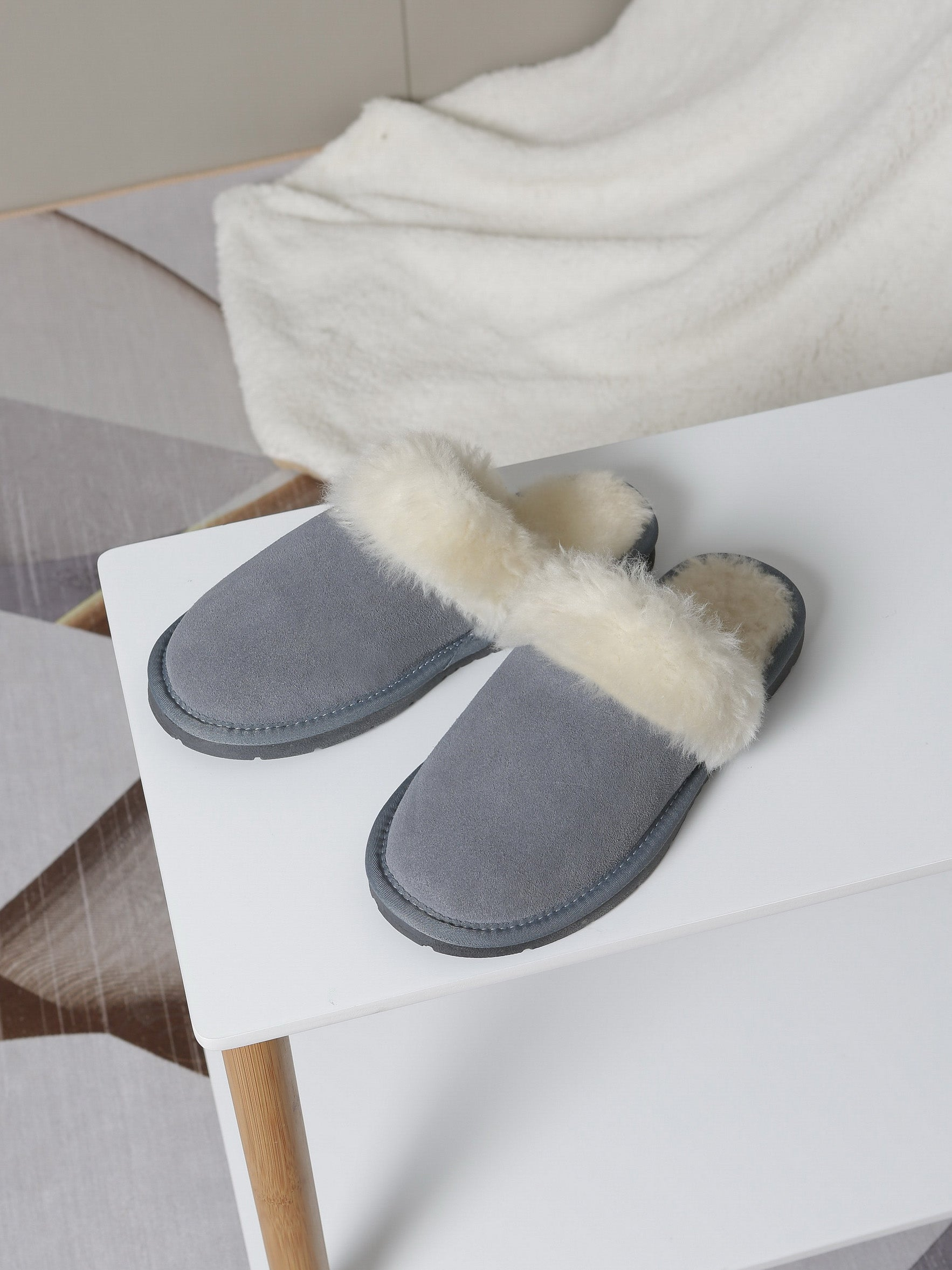 grey suede slippers