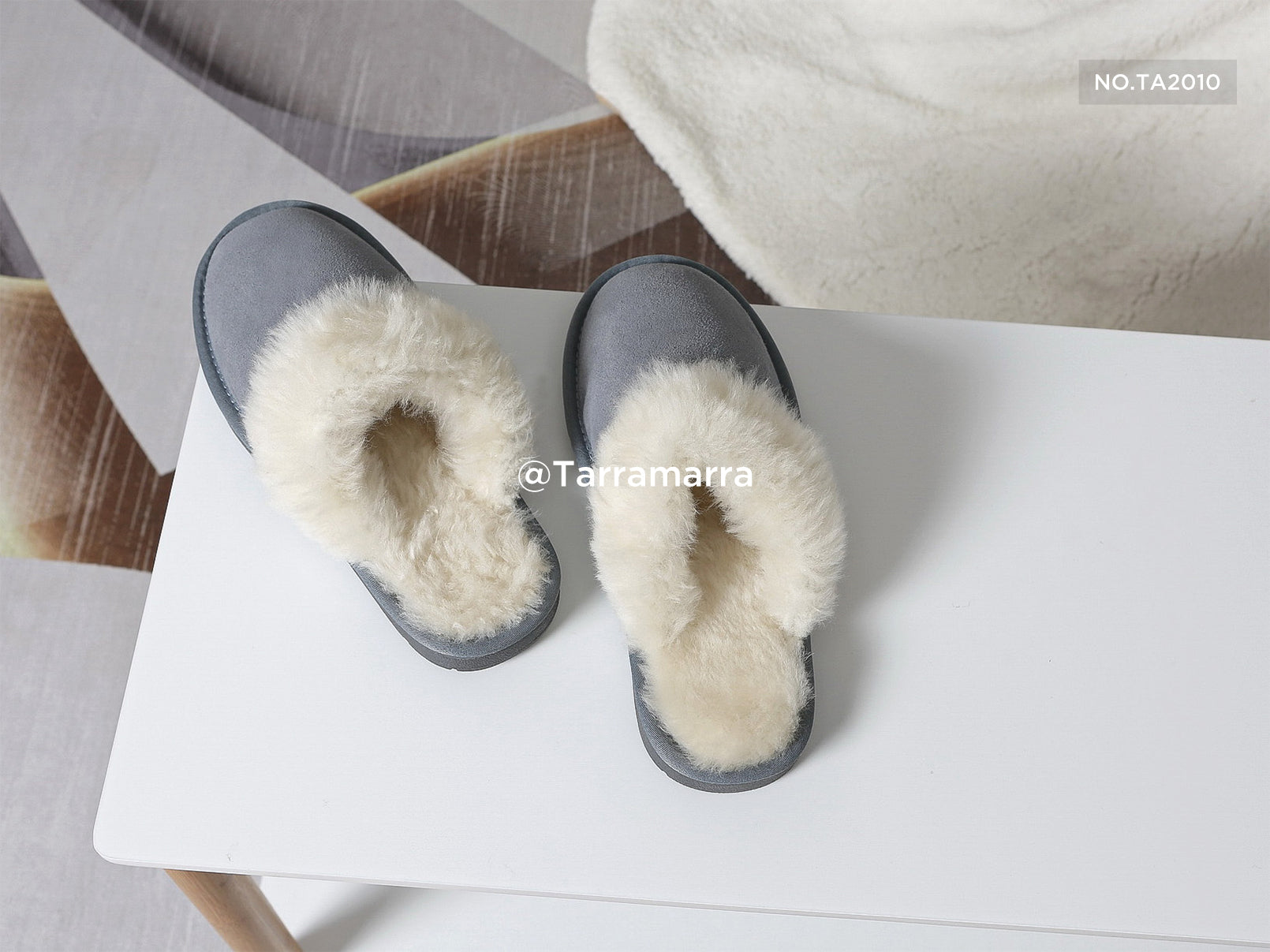 blue suede slippers
