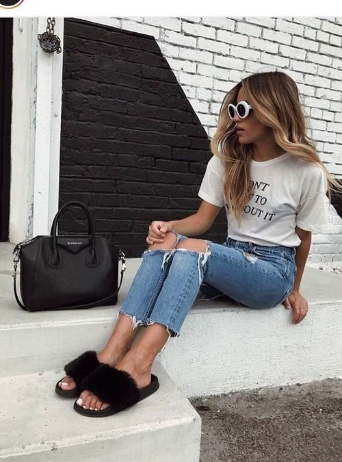 fluffy slides with jeans