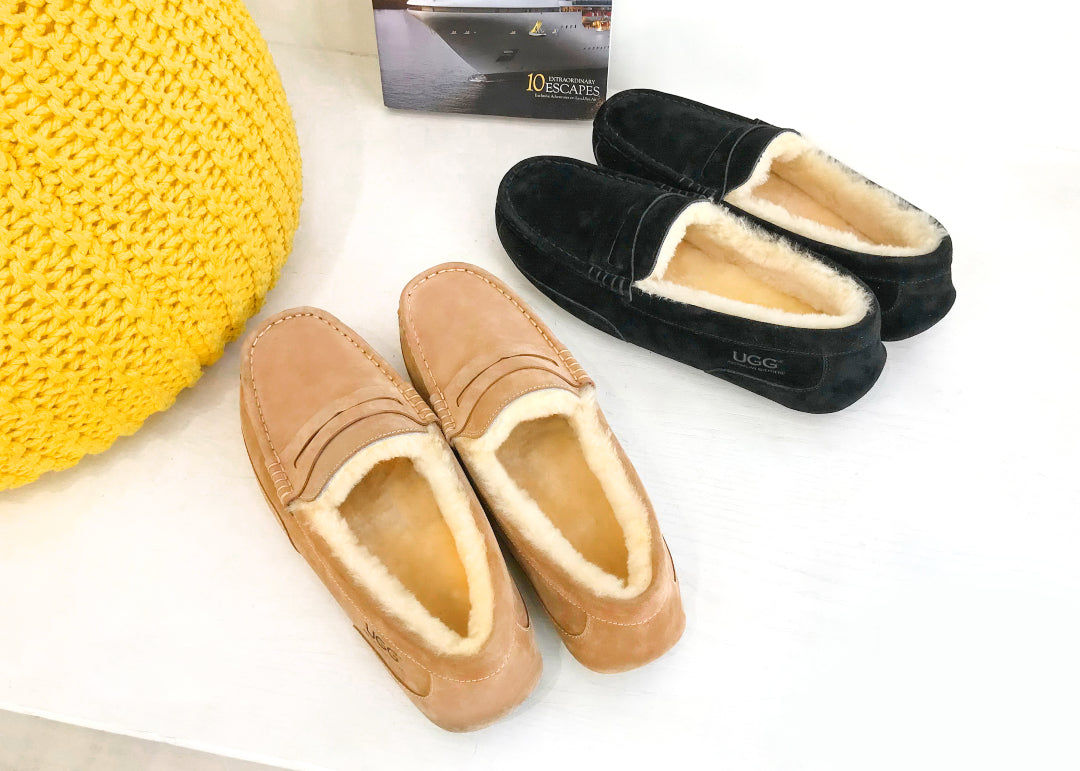 mens sheepskin moccasins