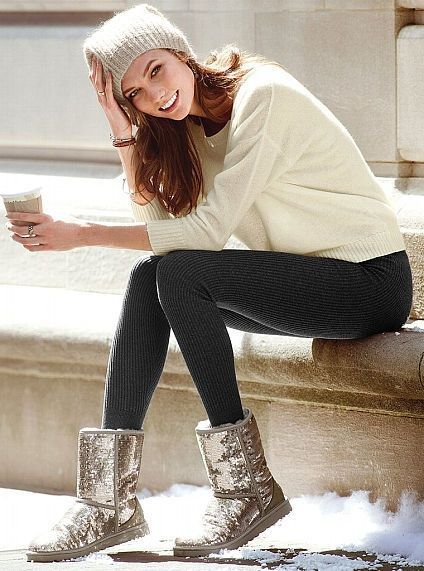 woman wearing sequin uggs with leggings