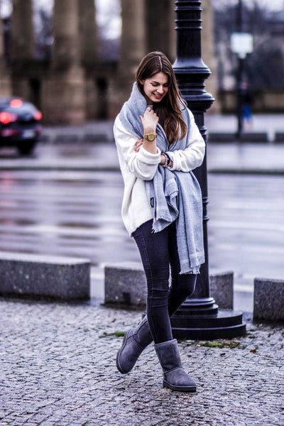 woman wearing clean uggs in the rain