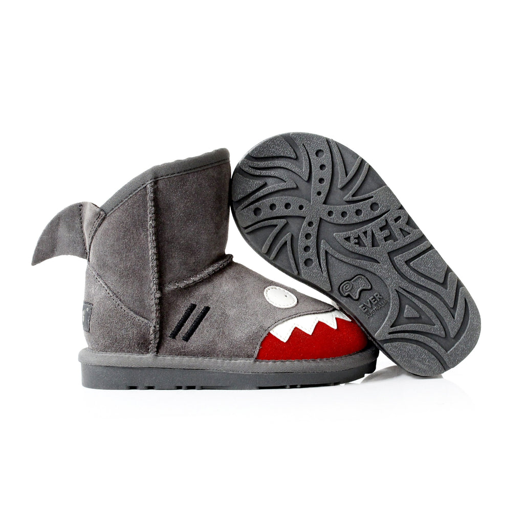 Kids Shoes - Ever UGG Kids Shark Boots In Grey #11539 (23339532307)